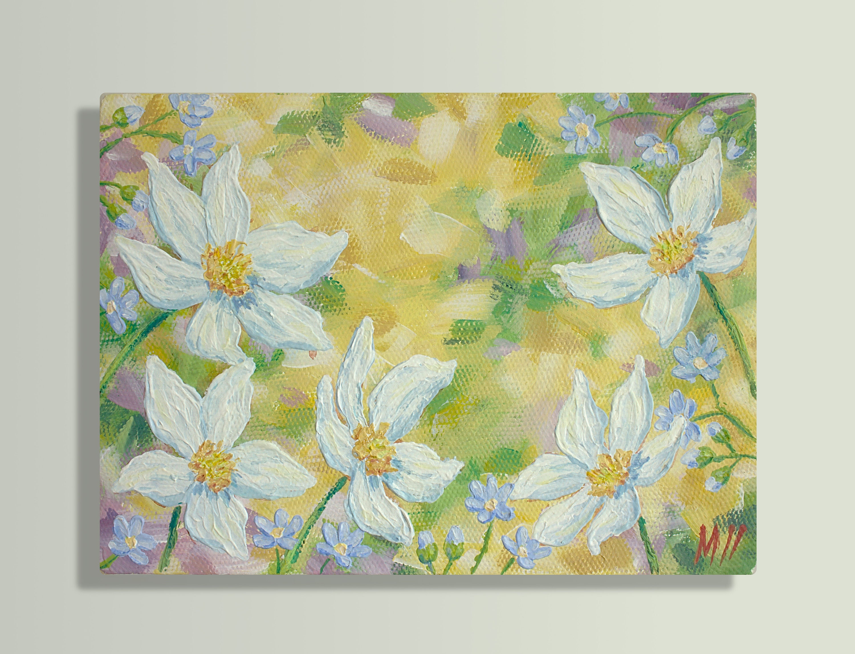 Original Canvas Painting White Flowers Abstract Flowers Etsy