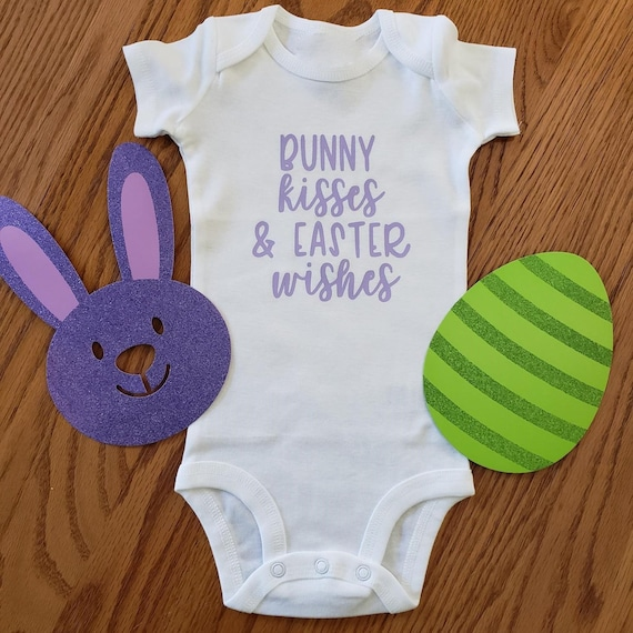 Bunny Kisses Easter Wishes pregnancy announcement onesie   Easter gender reveal   Easter baby announcement   1st Easter Bunny Onesie