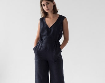 b89e97c00c Linen v neck jumpsuit Formal jumpsuit Summer culotte Linen romper Women  linen clothing Linen overall Wide leg jumpsuit in BLUE NAVY