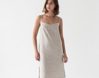 d7f9adea9a Linen Dress/Simple dress/Midi dress/Cami Dress/Sleeveless dress/Minimal  Dress/Linen women clothes/Summer dress in BEIGE