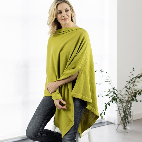 Fine knit cotton poncho in lime green