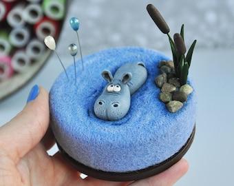Sassy Petunia Needle Felted Hippo Magnet