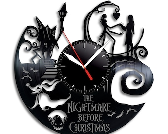 nightmare before christmas clock wall clock jack skellington halloween disney inspired wall decor tim burton jack and sally vinyl record