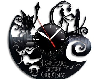 nightmare before christmas clock wall clock jack skellington halloween disney inspired wall decor tim burton jack and sally vinyl record - Nightmare Before Christmas Clock