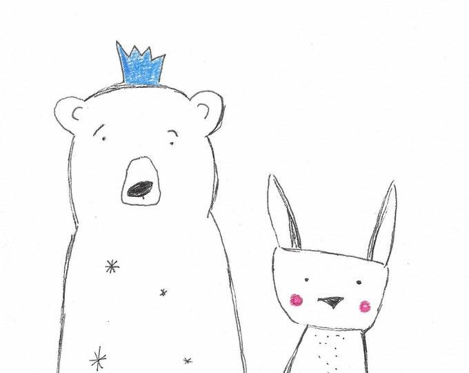 Instant Download Bear, Download Bunny, Wall Decor Nursery, Print with Animal, Animal Print, Bunny and Bear, Gift Kids, Home Decor Kids
