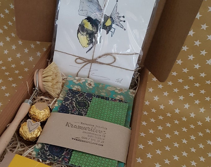 OSter Gift, Gift Box, Gift Set, Bee Gift, Gift for Friends,Zero Waste, Beeswax Cloth, Picture Bee,Gift with Heart