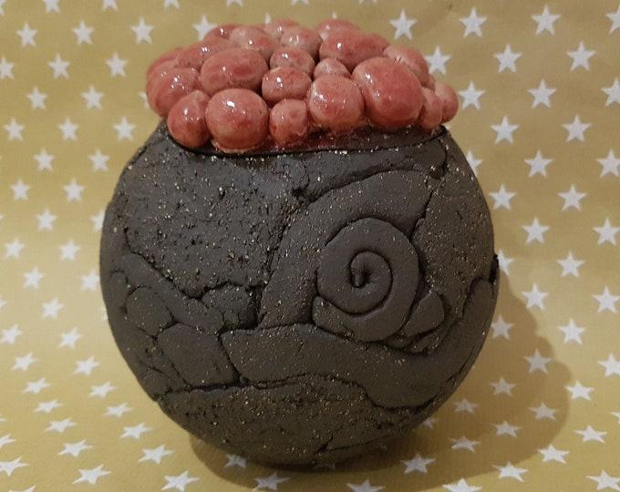 ceramics, ceramic sculpture, art, gift pottery, unique piece, ceramic object, sculpture, poppy flower, poppy pod, garden ball, garden object,