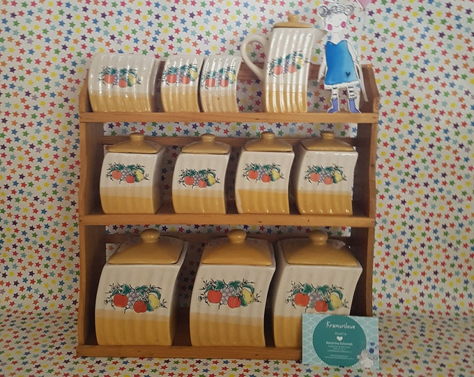 Wall shelf, spice shelf, old storage box, vintage shelf, porcelain box with lid, collectible tin, vintage decoration, storage kitchen, spice box