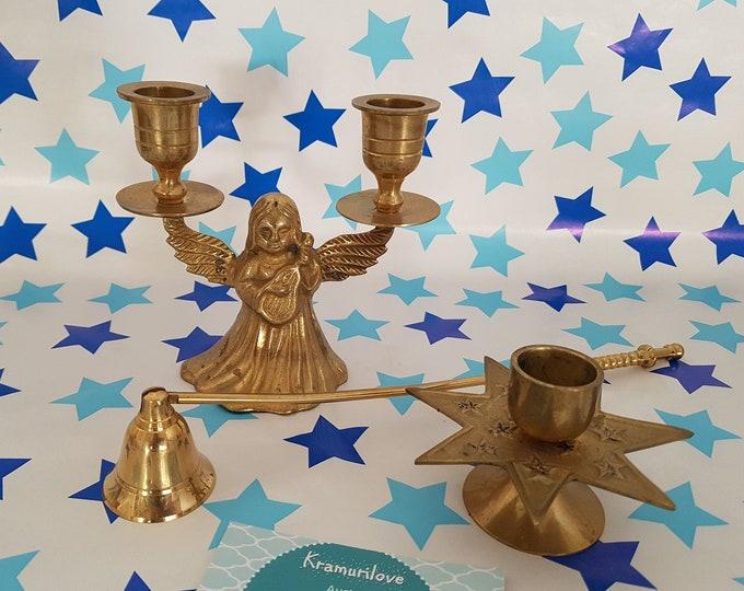 Angel Candle Holder, Candle Holder Brass Set, Candle Holder Brass, Shabby Decoration, Star Brass, Guardian Angel, Candle Holder Angel, Gift
