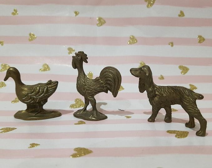 Brass miniature animals, collector miniature, vintage miniature, brass rooster, miniature duck, vintage animals brass, dachshund bronze, vintage deco