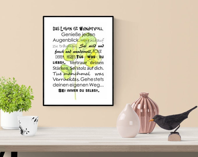 Positive Thoughts, Wall Decor Saying, Wisdoms, Positive Thoughts Decoration, Wall Decor Green, Gift for Her, Birthday Gift, Office Decoration
