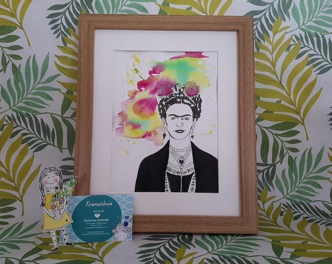 Frida Kahlo, Watercolor Frida Kahlo, Gift Girlfriend, Print Frida Kahlo, Frida Kahlo Decoration,Birthday Gift Women, Colorful Picture, Frida Decoration