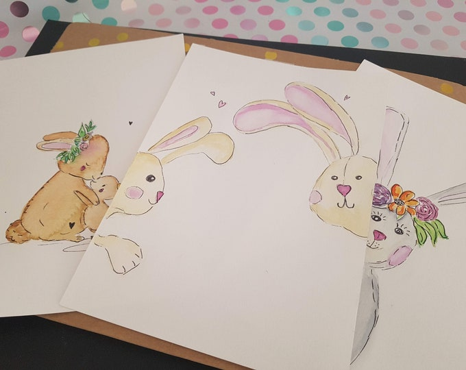 Watercolor bunny,wall deco bunny, decoration bunnies,gift girlfriend,gift sister,wall decoration colorful,gift funny, Kramurilove, nursery decoration