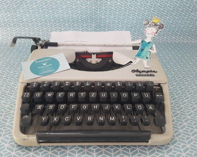 Typewriter Olympia Splendid 33, gift friends, typewriter made in Germany, Kramurilove, typewriter cream, vintage decoration