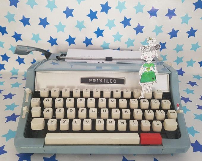 Typewriter Prestige, Typewriter blue, brother deluxe light blue, gift, typewriter light blue, writing machine baby blue,Vintage decoration