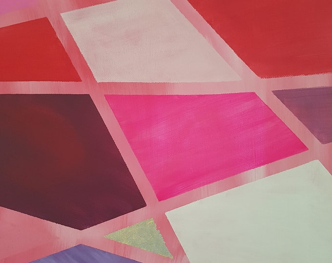 geometric wall decoration, acrylic painting pink, wall decoration pink, abstract, gift wedding, gift girlfriend, art, home décor with gold, decoration red