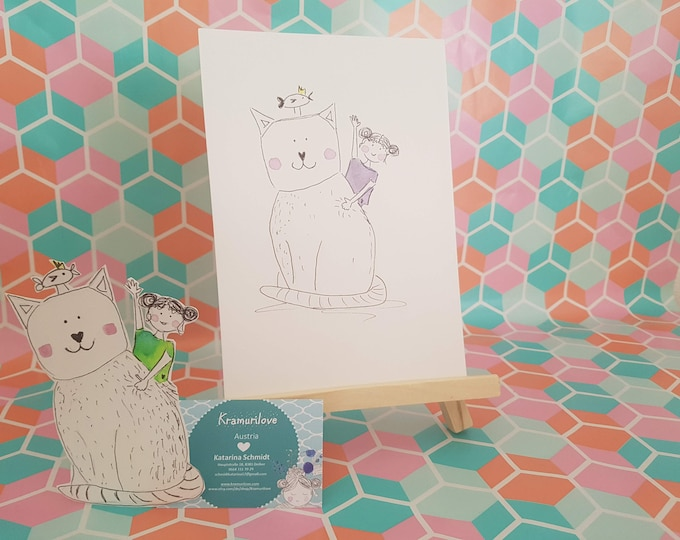 Decoration cat, picture cat, wall decoration purple, wall decoration cat, spring gift, gift girlfriend, watercolor turquoise, gift kids, gift mom