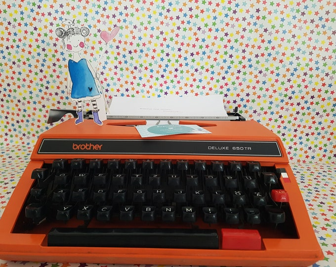 Typewriter brother, typewriter orange, travel typewriter brother, gift boyfriend, vintage office decoration, vintage typewriter