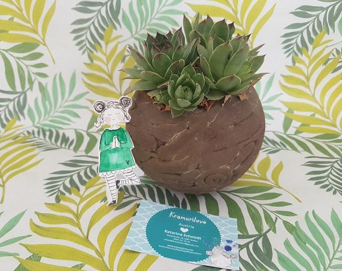 Ceramic ball, ceramic planted garden art, garden ball, frostproof pottery, garden object, garden gift, gift girlfriend, ball decoration