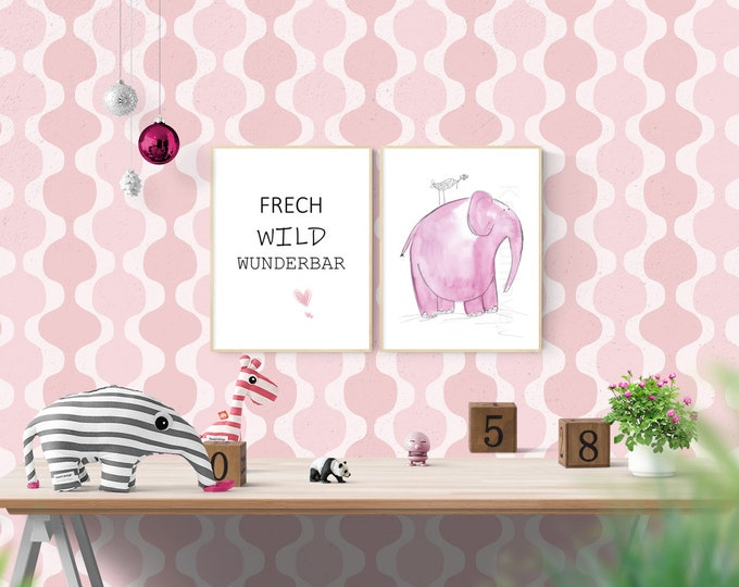 Saying picture, download,dream print, A4 print, wall decoration office, pink elephant, home décor, cheeky wild, gift for friends, wall decoration kids, quotes