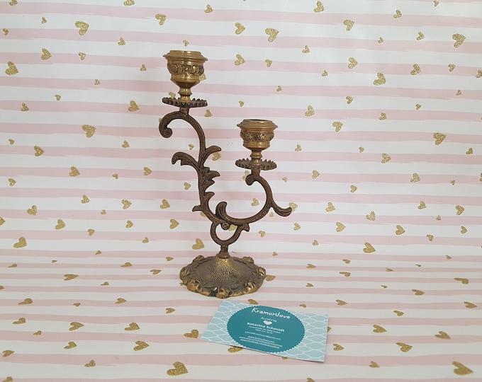 Candle holder in Brass, Shabby Candlestick, Shabby Decoration, Candlesticks wedding, Vintage Decoration, Candlestick gold, Decoration wedding