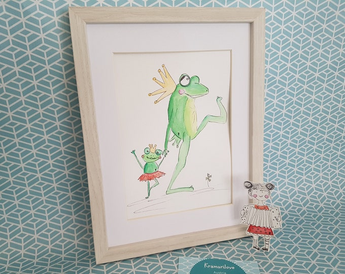 Frog King, Dancing Frog, Decoration Frog King,Gift Girlfriend,Gift Dancing,Mom and Child,Gift Funny, Kramurilove, Frog