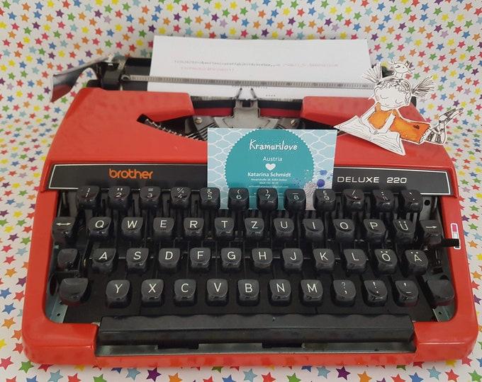Typewriter brother, typewriter red, travel typewriter brother red, gift friend, vintage office decoration, vintage typewriter