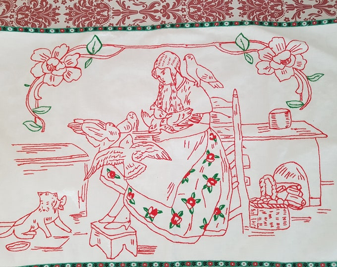 Towel embroidered, girl with dove, vintage embroidery girl, mural embroidered, linen embroidered, tea towel vintage, home décor old