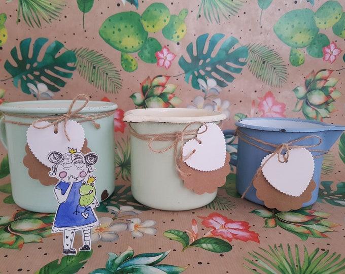 Enamel Shabby, Milk jug, Plant pot mint,, Vintage decoration, Garden Decoration Enamel, Kramurilove, Vintage Gift,Shabby Decoration