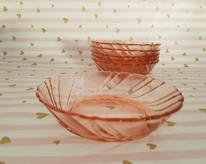 Arcoroc, Arcoroc Glass Bowl, Rosalin,French Glass,Pressed Glass Pink,Glass Vintage,Dessert Bowl,Shabby Decoration, Wedding Vintage, Kramurilove
