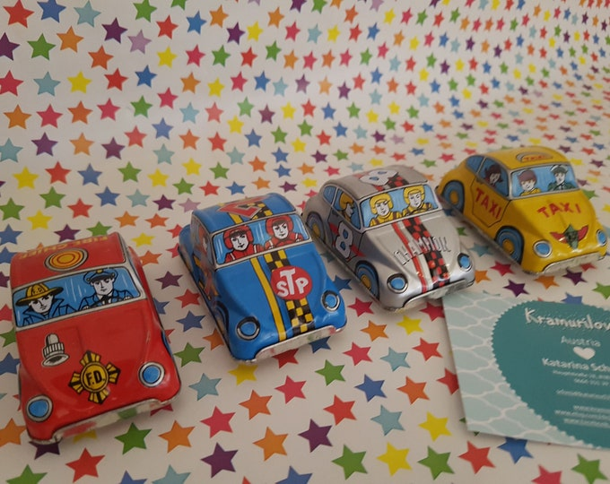Toy vintage, old tin car, old toy, gift kids, taxi, fire brigade, old racing car, 70s toy,Kramurilove, tin car