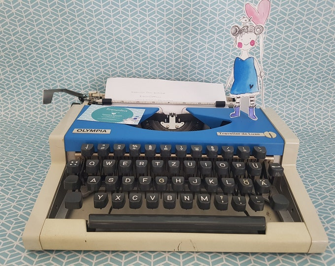 Typewriter Olympia, blue typewriter, gift,typewriter blue,made in West Germany, Kramurilove, Olympia traveller,bluedecoration