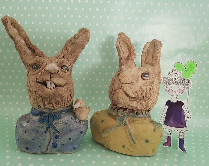 Garden pottery, art bunny, pond sculpture, gift pottery, stone figurine, decoration pond, decoration garden, bunny pair Kramurilove, ceramic bunny