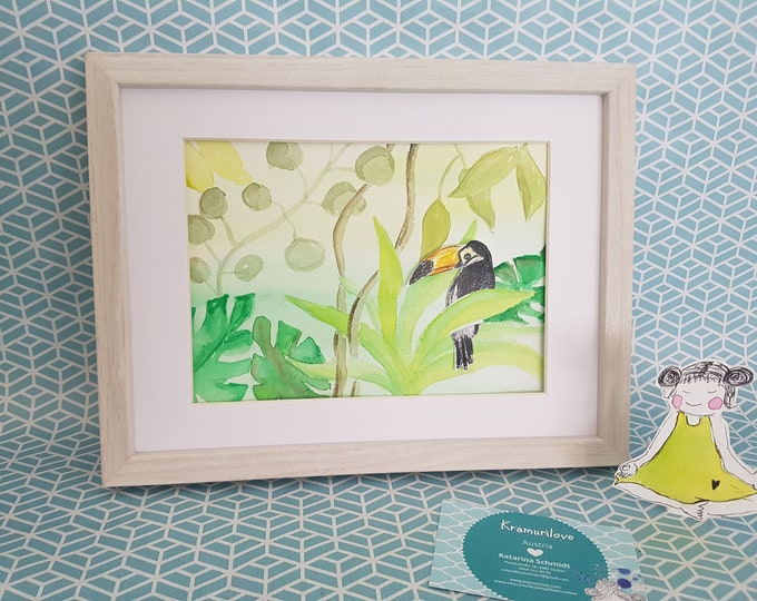 Toucan picture, watercolor jungle, green watercolor, green gift, Kramurilove, small picture, watercolor original, jungle picture, green wall decoration