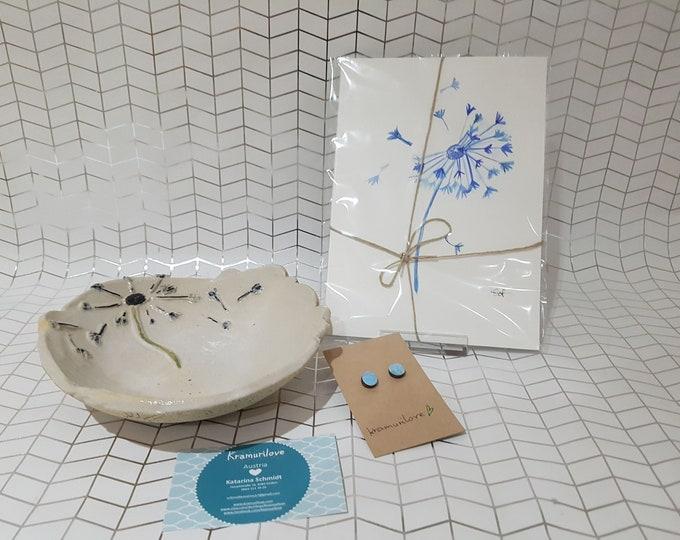 Wall Decor Pusteblume, Illustration Flowers, Birthday Gift Girlfriend, Wish, Pusteblume Decoration, Gift Set, Kramurilove, Living Decoration Blue