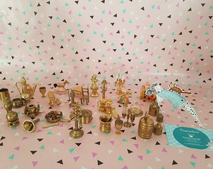 Set box miniature, brass miniature, stick shoe brass miniature, phone miniature, set box candlestick miniature, collectible figurine brass