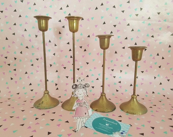 Brass candle holder, Shabby candlestick, Shabby decoration, wedding candlestick, vintage decoration, gold candlestick, decoration wedding