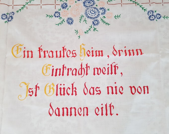 Towel embroidered, tautes home, vintage embroidery, Austrian folk art, mural embroidered, linen embroidered, tea towel vintage