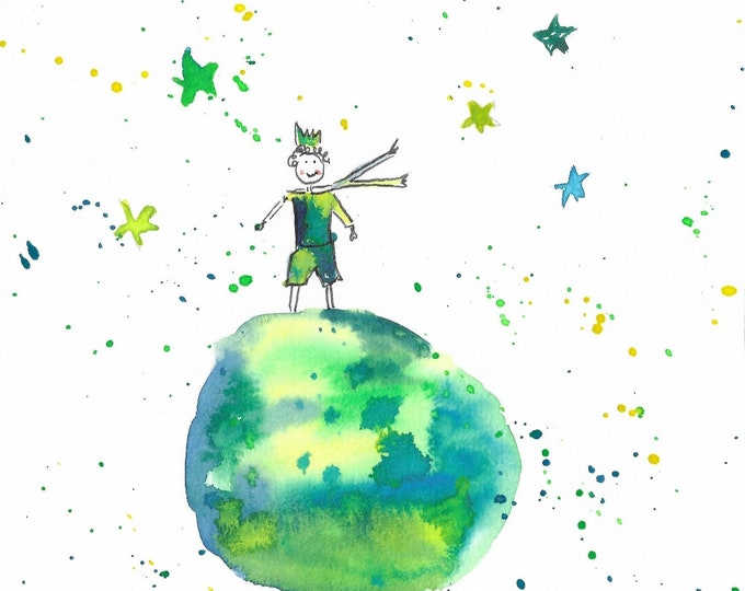 Watercolor with saying, green wall decoration,Little prince, prince watercolor, watercolor happiness,gift birth, home décor green, saying image, Kramurilove