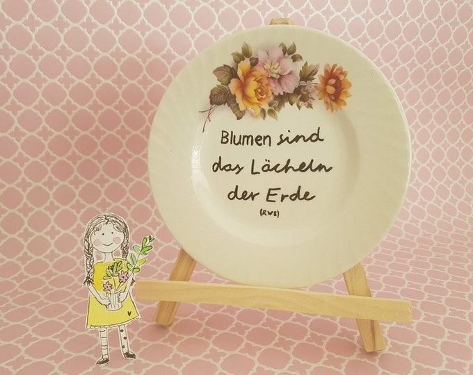 Wall plate, vintage plate, wall decoration,plate with saying,birthday gift girlfriend, saying decoration,gift flowers,Kramurilove,residential decoration saying