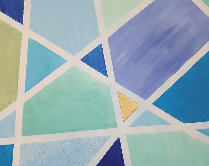 geometric wall decoration, acrylic painting blue, wall décor blue, abstract, gift wedding, gift girlfriend, art, home décor with gold, decoration blue