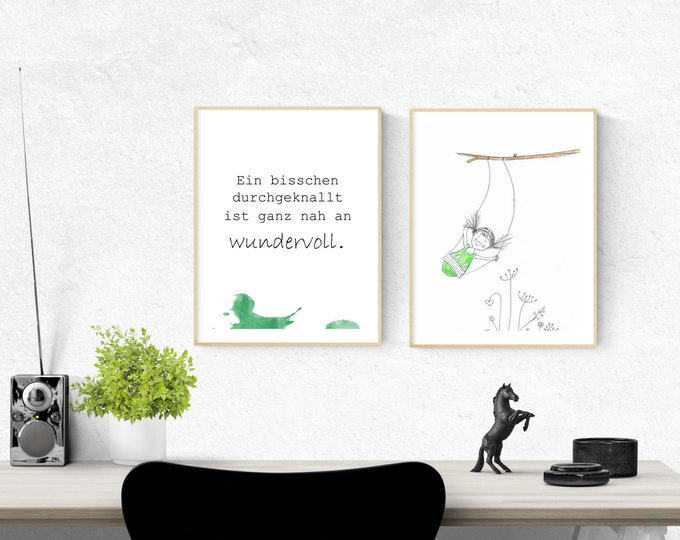 Positive thoughts, wall decoration saying, mutiny image, nursery decoration, wall decoration green, gift for her, gift girlfriend, birthday gift
