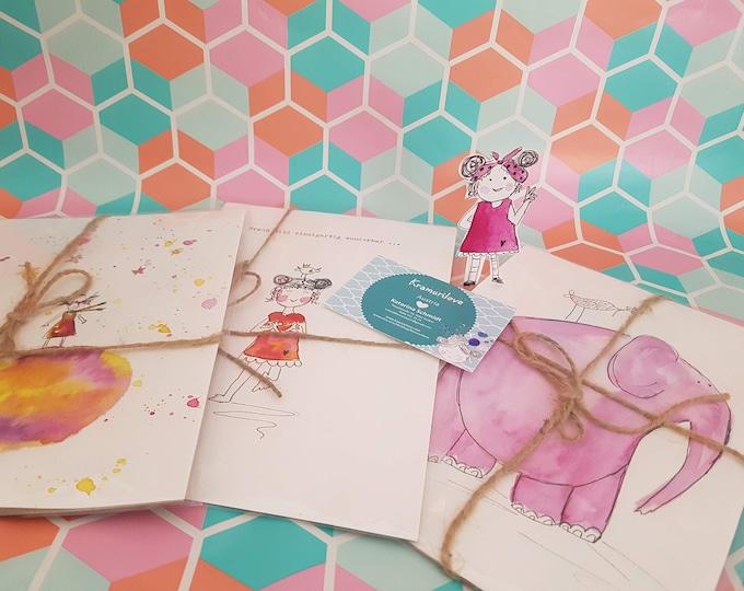 Watercolor elephant, gift girlfriend, girl gift, wall decoration pink, kangaroo,Kramurilove,birthday gift women,colorful picture, birthday