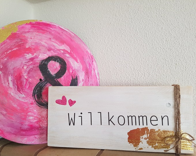 Welcome sign,wall decoration pink,Shabby decoration,wood sign,door sign,saying on wood,gift girlfriend,birthday gift,house inauguration