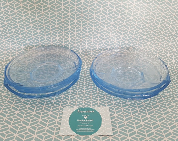 Press glass plate, press glass blue, glass vintage, dessert plate, plate pressing glass, Shabby decoration, wedding vintage decoration, compost bowls green