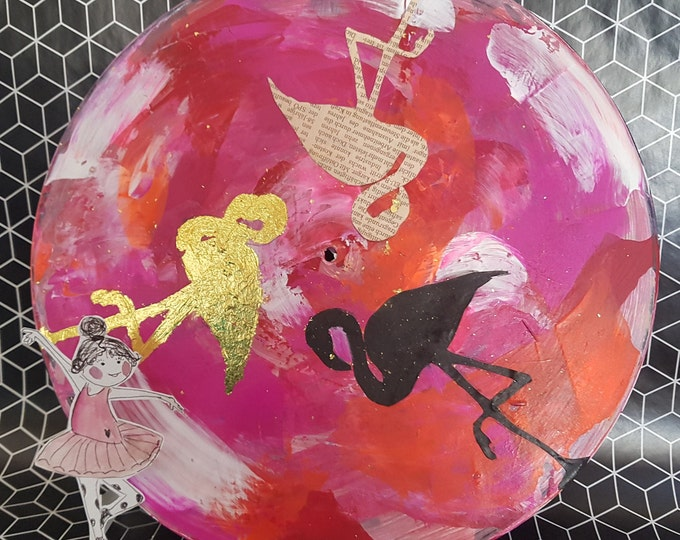 Vinyl plate hand painted,birthday gift, gift,wall decoration vintage, wall decoration with flamingo,mixed media, vinyl art,gold leaf decoration,decoration