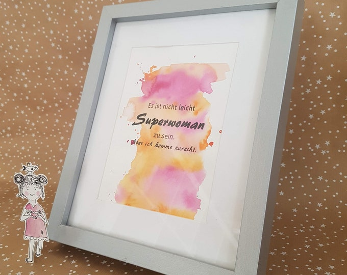Saying picture, watercolor with saying,wall decoration blue, wall decoration saying, saying aunt, funny wisdoms, watercolor turquoise,gift aunt,lettering