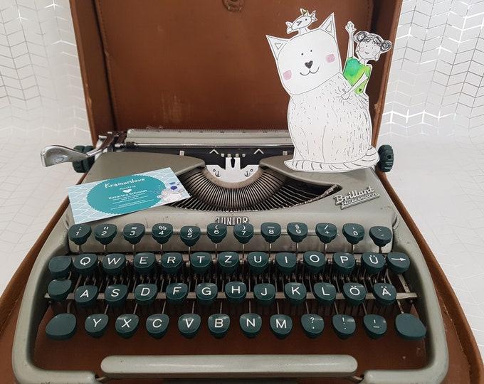 Typewriter green,metallic typewriter,Neckermann typewriter,gift,typewriter metallic,travel typewriter,vintage decoration