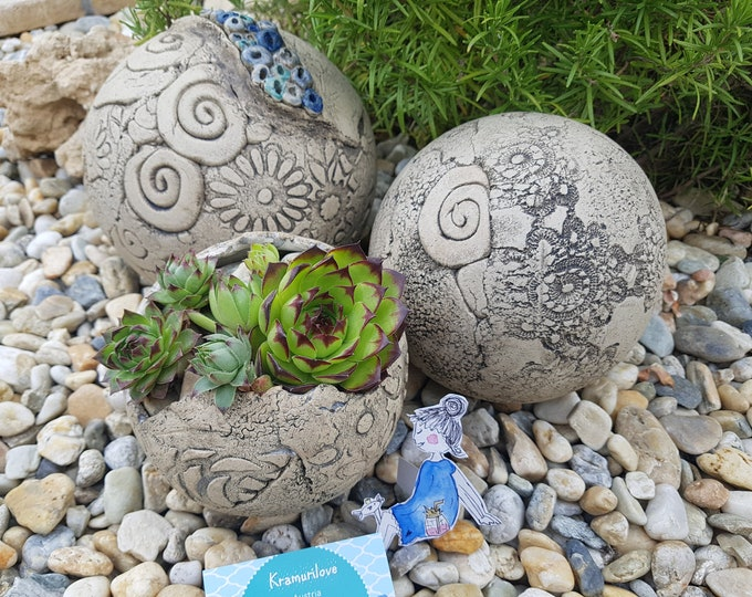 ceramic ball, ceramic, garden art, garden ball, ceramic sculpture, frostproof pottery, garden object, garden gift, girlfriend gift, ball