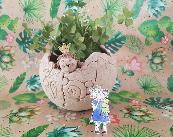 Ceramic ball, ceramic ball princess, ceramic gift, ball for planting,object garden, flower pot ball, gift girlfriend, decoration house